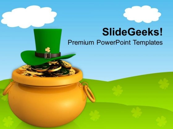 Golden Pot With Coins And Green Hat PowerPoint Templates Ppt Backgrounds For Slides 0313