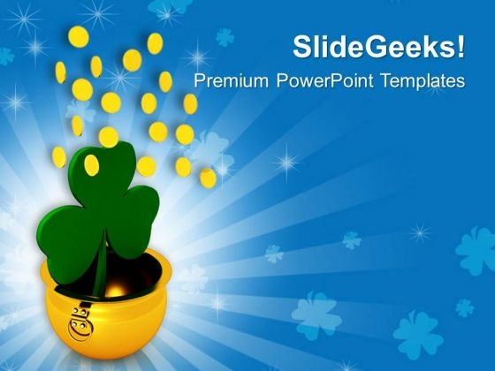 Golden Pot With Shamrock Falling Coins PowerPoint Templates Ppt Backgrounds For Slides 0313