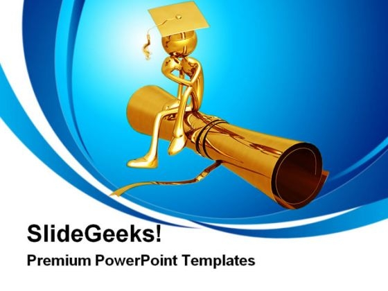 Golden Thinker On Degree Education PowerPoint Themes And PowerPoint Slides 0311