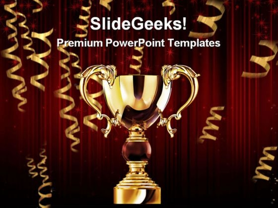 Golden Trophy Cup Success PowerPoint Themes And PowerPoint Slides 0311