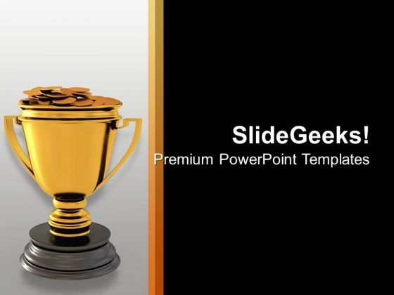Golden Trophy Of Winner Success PowerPoint Templates Ppt Backgrounds For Slides 0313
