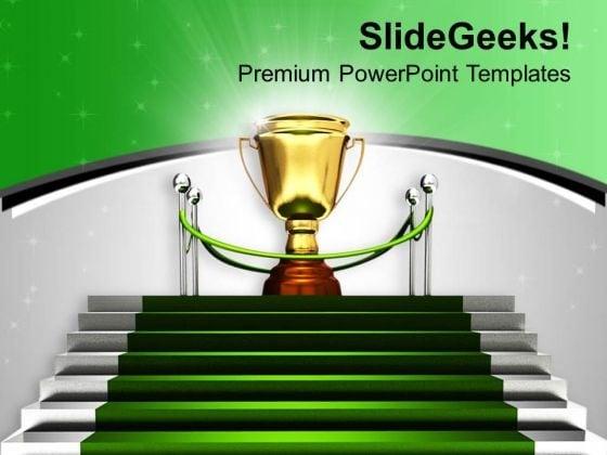 Golden Trophy On Green Carpet Winner PowerPoint Templates Ppt Backgrounds For Slides 0313