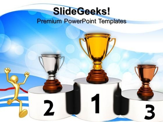 Golden Trophy Podium Competition PowerPoint Templates And PowerPoint Themes 0812