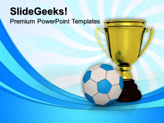 Golden Trophy With A Football Success PowerPoint Templates And PowerPoint Themes 1012