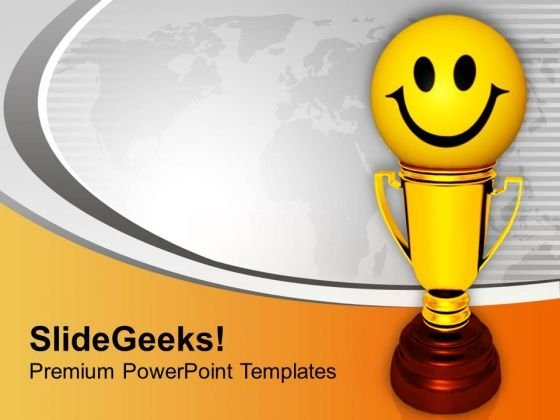 Golden Trophy With Smiley Winner Success PowerPoint Templates Ppt Backgrounds For Slides 0113