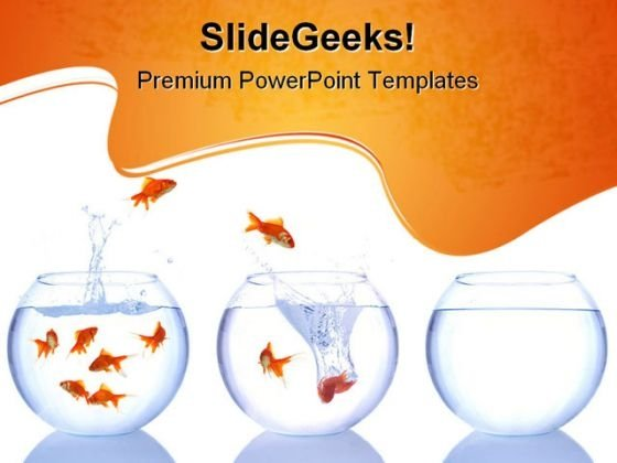 Goldfish Escape Animals PowerPoint Themes And PowerPoint Slides 0611