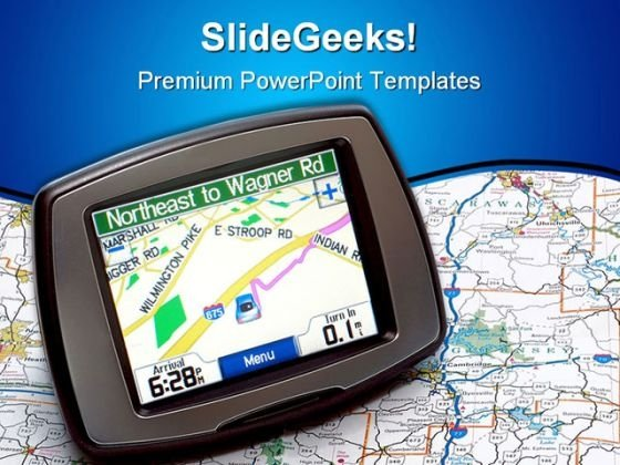 Gps Map Travel PowerPoint Template 1010