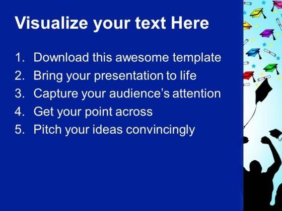 graduation caps education powerpoint templates and powerpoint, Powerpoint templates