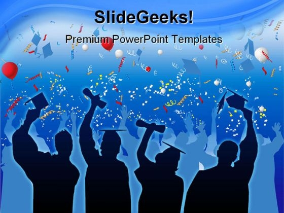 Graduation Students Celebrate Education PowerPoint Backgrounds And Templates 1210