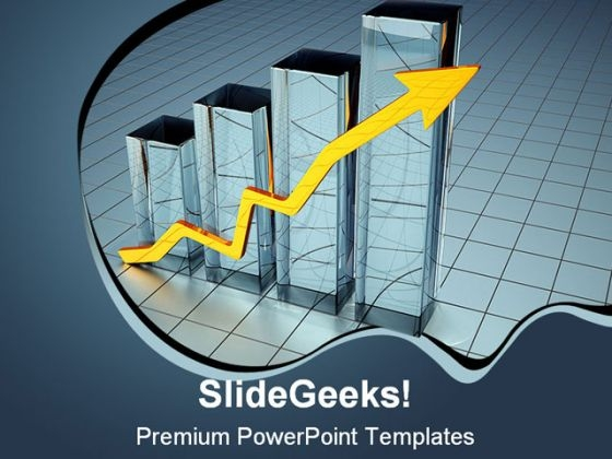 Graph And Arrow Business PowerPoint Backgrounds And Templates 0111