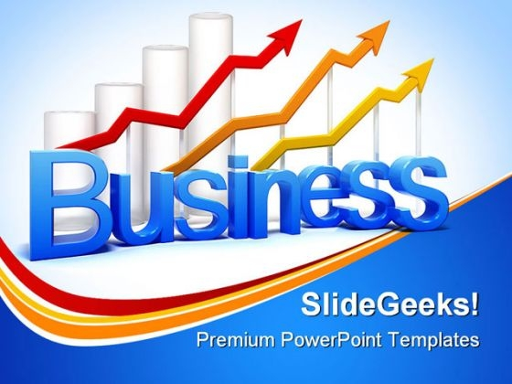 Graph And Arrows Business PowerPoint Background And Template 1210