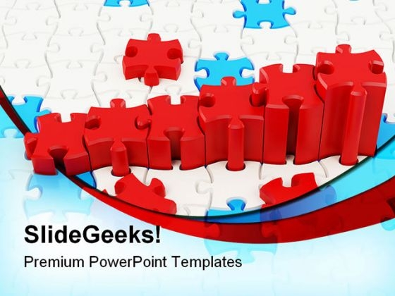 Graph And Puzzle Business PowerPoint Backgrounds And Templates 0111