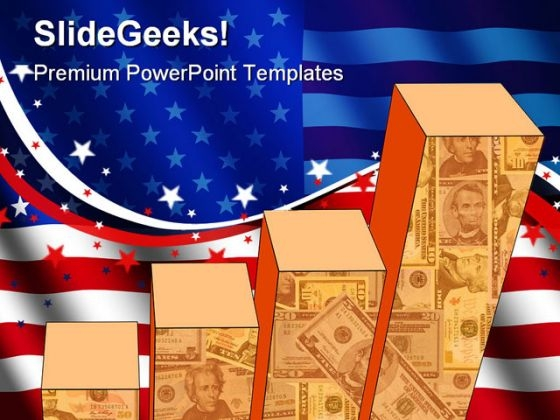Graph With America Flag Americana PowerPoint Templates And PowerPoint Backgrounds 0711