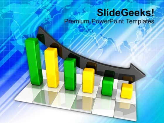 Green And Yellow Bar Chart With Arrow PowerPoint Templates Ppt Backgrounds For Slides 1212