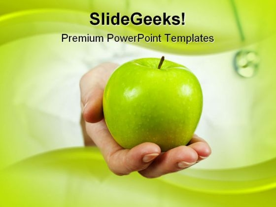 Green Apple Health PowerPoint Template 0610