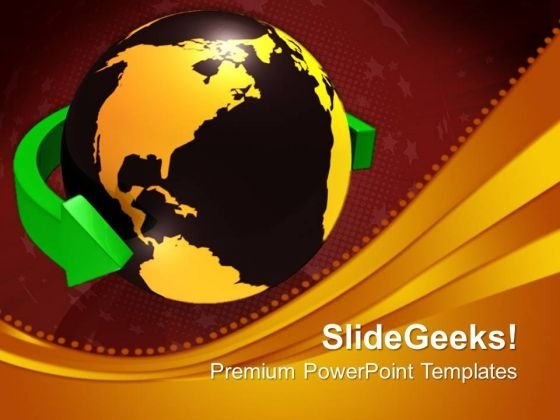 Green Arrow Around The World Global PowerPoint Templates And PowerPoint Themes 0612