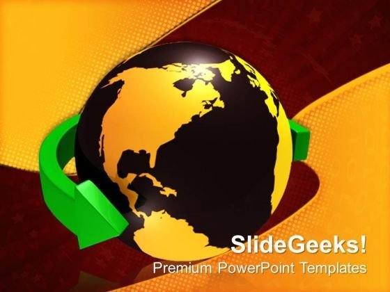 Green Arrow Around The World Global PowerPoint Templates And PowerPoint Themes 0712