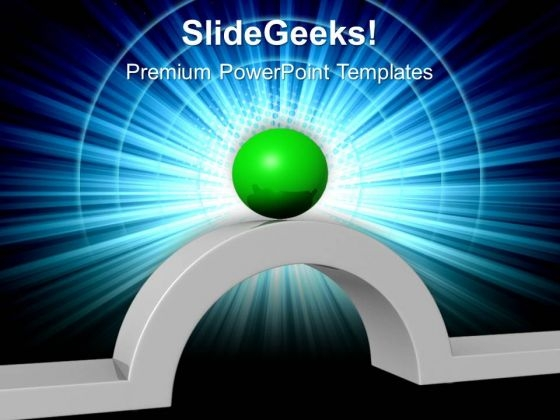 Green Ball And Bridge Leadership PowerPoint Templates And PowerPoint Themes 0612