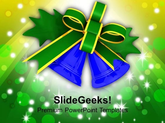 Green Bow Tied Around Blue Bells PowerPoint Templates Ppt Backgrounds For Slides 1212