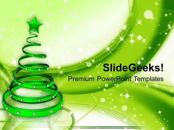 Green Christmas Tree With Glowing Background Powerpoint Templates