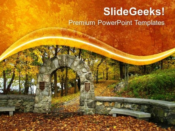 Green Forest And Orange Leaves PowerPoint Templates Ppt Backgrounds For Slides 0713