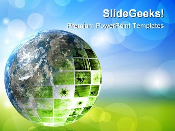 Green Futuristic Technology Geographical PowerPoint Templates And PowerPoint Backgrounds 0311
