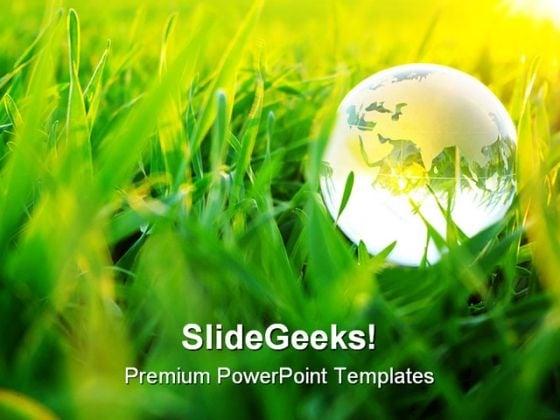 Green Globe PowerPoint Template 1110