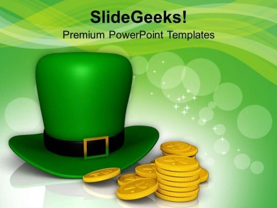 Green Hat And Gold Coins Of Patricks Day PowerPoint Templates Ppt Backgrounds For Slides 0313