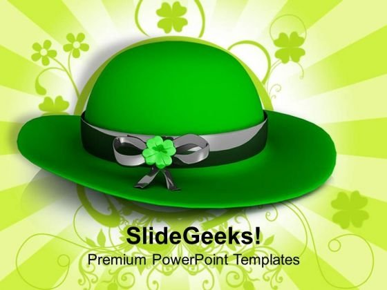 Green Hat On Green Background Decoration PowerPoint Templates Ppt Backgrounds For Slides 0313