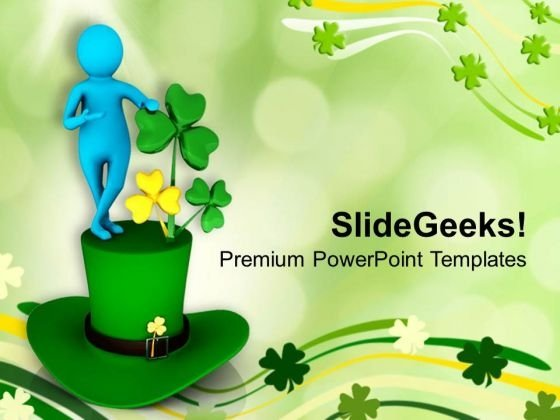 Green Hat Patricks Day Celebration PowerPoint Templates Ppt Backgrounds For Slides 0313