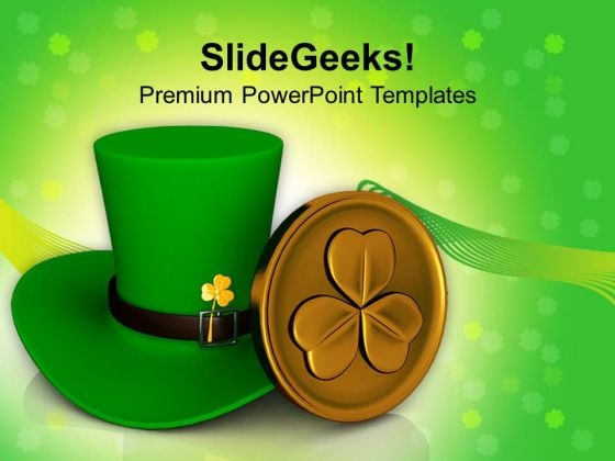 Green Hat Shamrock Patricks Day PowerPoint Templates Ppt Backgrounds For Slides 0313