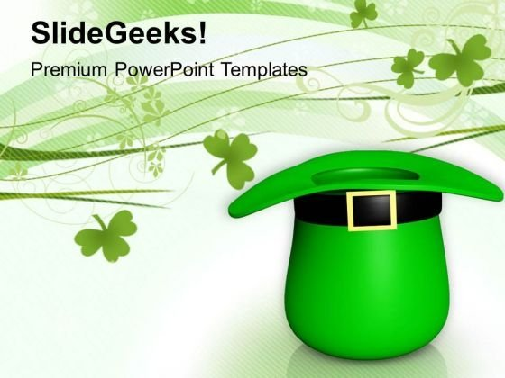 Green Hat To St Patrick Day PowerPoint Templates Ppt Backgrounds For Slides 0313