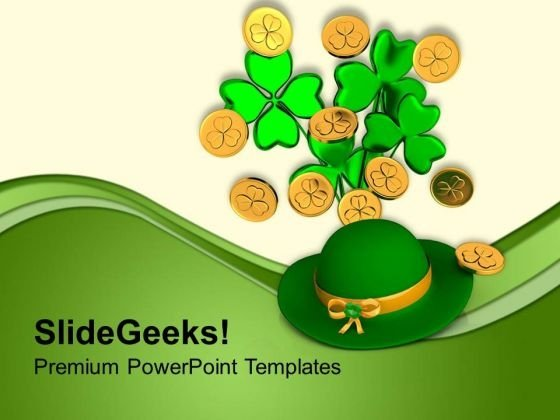 Green Hat With Clover Bunch Shamrock Coins PowerPoint Templates Ppt Backgrounds For Slides 0313