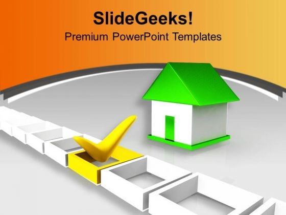 Green Home Besides Yellow Tick Mark PowerPoint Templates Ppt Backgrounds For Slides 0213