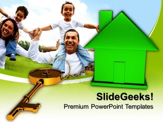 Green House Connected With Keys Security PowerPoint Templates And PowerPoint Themes 0912
