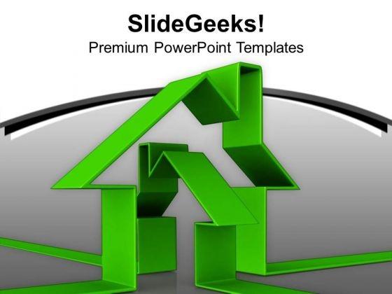 Green House Innovative Illustration Estate PowerPoint Templates Ppt Backgrounds For Slides 0213