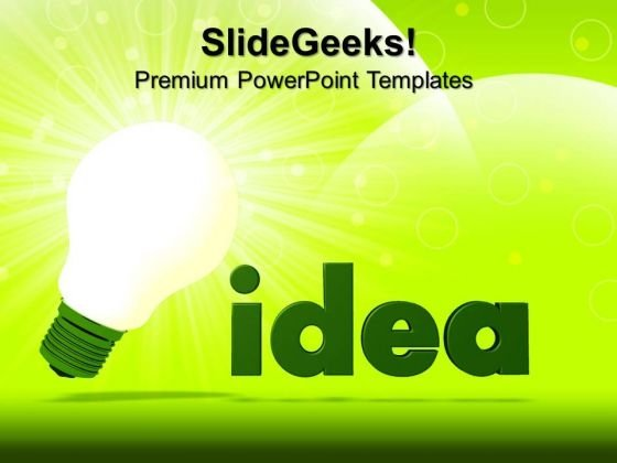 Green Idea Bulb Technology PowerPoint Templates And PowerPoint Themes 0612
