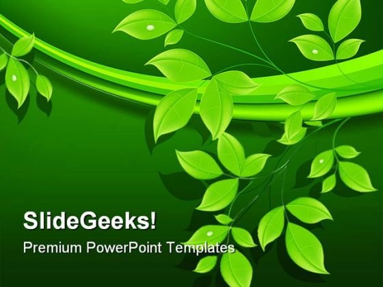 Green Leaves Floral Abstract PowerPoint Themes And PowerPoint Slides 0411