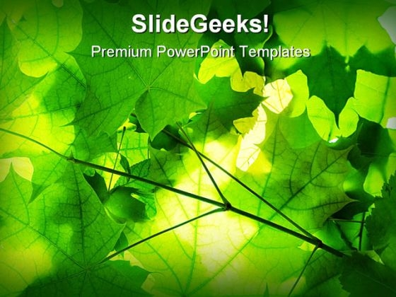 Green Leaves Nature PowerPoint Template 1110