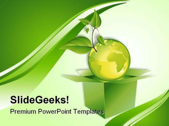 Green Planet Globe PowerPoint Template 0910