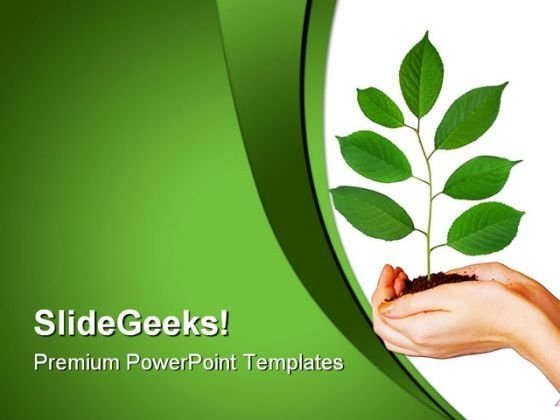 Green Plant In Hands Nature PowerPoint Themes And PowerPoint Slides 0611