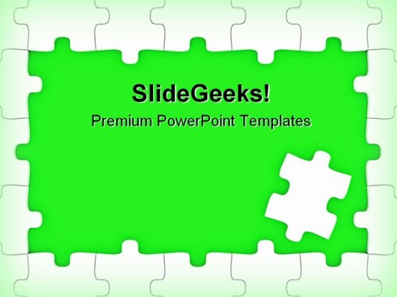 Green Puzzle Frame Business PowerPoint Themes And PowerPoint Slides 0411