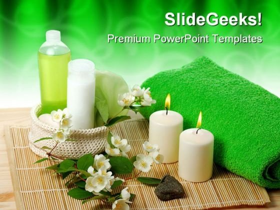 Green Spa Beauty PowerPoint Themes And PowerPoint Slides 0311