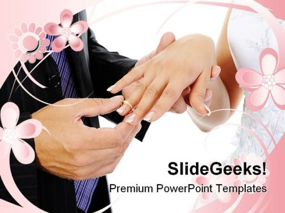 Groom Wears Ring Bride Wedding PowerPoint Templates And PowerPoint Backgrounds 0411