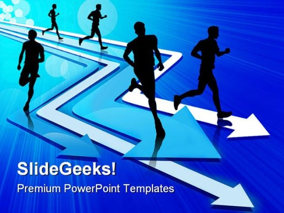 Group Of Five Man Running On Arrow Competition PowerPoint Themes And PowerPoint Slides 0411