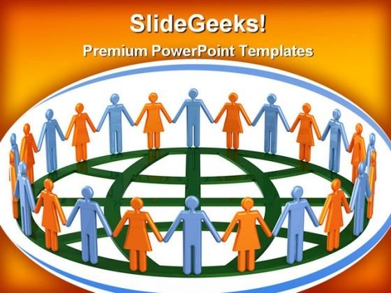 Group Of People Around Globe Communication PowerPoint Themes And PowerPoint Slides 0311