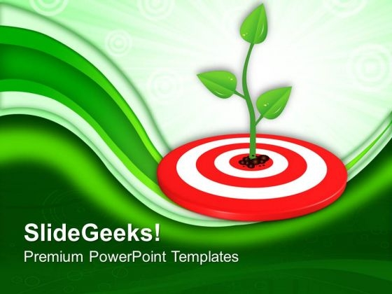 Growing Green Plant On Target PowerPoint Templates Ppt Backgrounds For Slides 0113