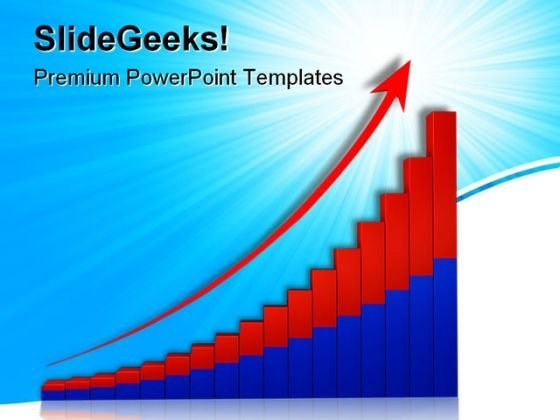 Growth Graph With Arrow Business PowerPoint Themes And PowerPoint Slides 0611