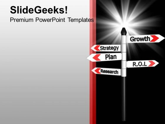 Growth Strategy Plan Research Signboard PowerPoint Templates Ppt Backgrounds For Slides 0213