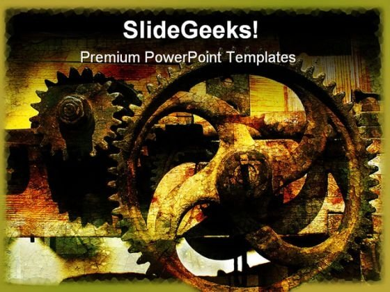 Grunge Gears Industrial PowerPoint Templates And PowerPoint Backgrounds 0611
